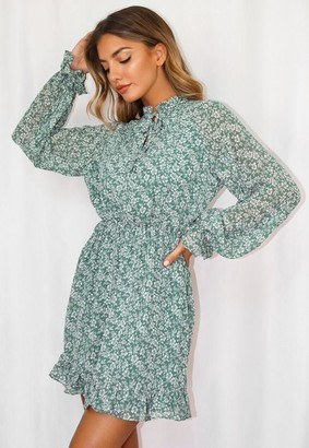 Missguided Tall Sage Floral Print Keyhole Smock Dress