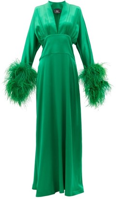 Taller Marmo Elvira Feather-cuff Crepe Maxi Dress - Dark Green