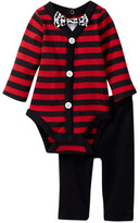 Vitamins Baby Striped Bodysuit, Pant & Mustache Bow Tie Set (Baby Boys)