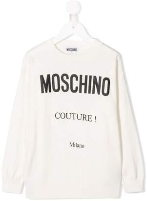 Moschino Kids logo print knitted jumper