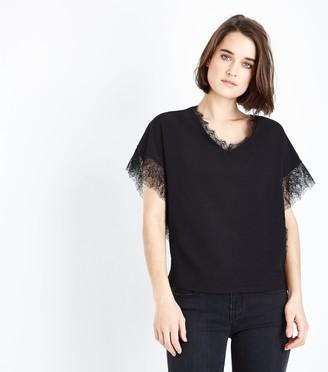 New Look Mela Lace Trim V Neck Blouse