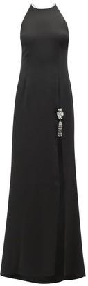 Julie De Libran - Gaia Crystal Embellished Silk Satin Gown - Womens - Black