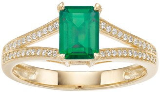 Unbranded 10k Gold Emerald & 1/8 Carat T.W. Diamond Split Shank Ring