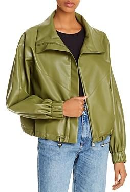 AERON Portia Faux Leather Bomber Jacket