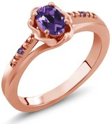 Gem Stone King 0.36 Ct Oval Amethyst 18K Rose Gold Ring