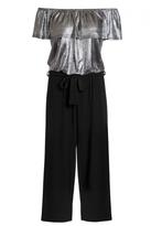 Quiz Silver Foil Bardot Frill Culotte Jumpsuit