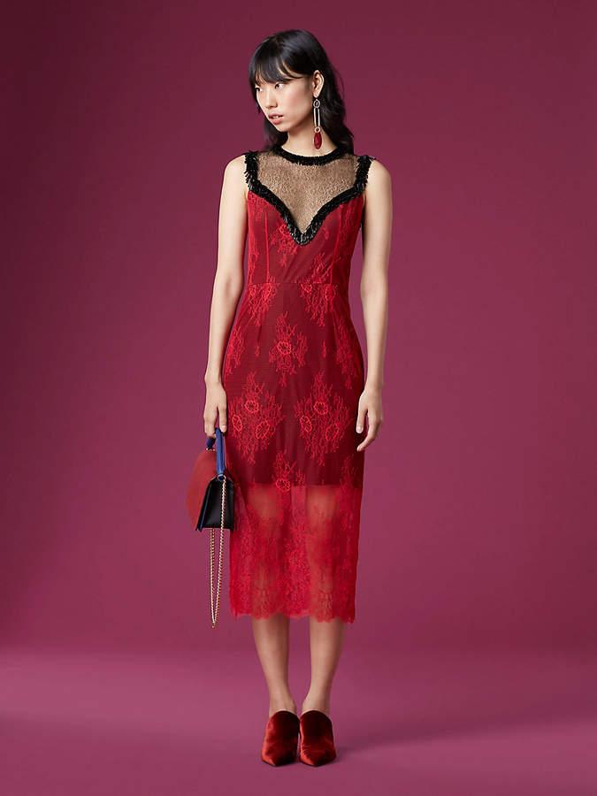 Diane von Furstenberg Beaded Overlay Lace Dress
