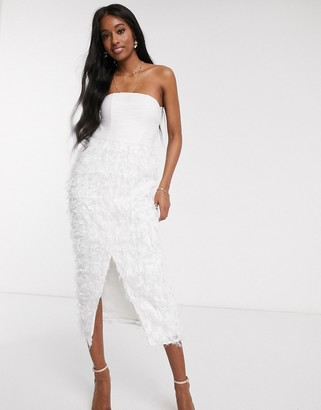 Forever U bandeau midi pencil dress with 3D fringe in white