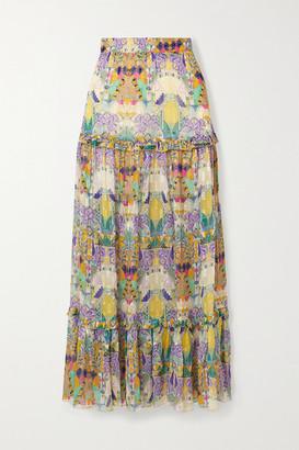 CHUFY Inka Printed Metallic Fil Coupe Chiffon Maxi Skirt - Purple
