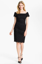 Betsy & Adam Square Neck Lace Overlay Sheath Dress