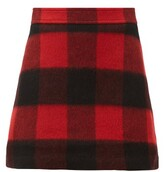 Thumbnail for your product : Ganni Check Felted Wool-blend Mini Skirt - Black Red