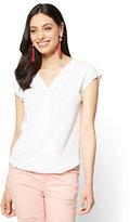 New York & Co. Soho Soft Shirt - Wrap-Front Short Sleeve Shirt