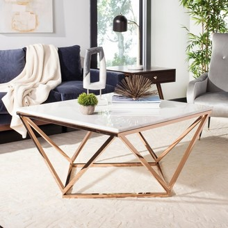 Safavieh Couture Topeka Marble Top Cocktail Table Copper/White