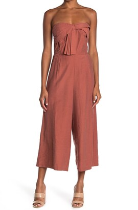 Adelyn Rae Bow Front Strapless Wide Leg Crop Jumpsuit