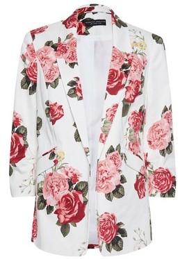 Dorothy Perkins Womens Ivory Rose Print Ruched Sleeve Edge To Edge Jacket
