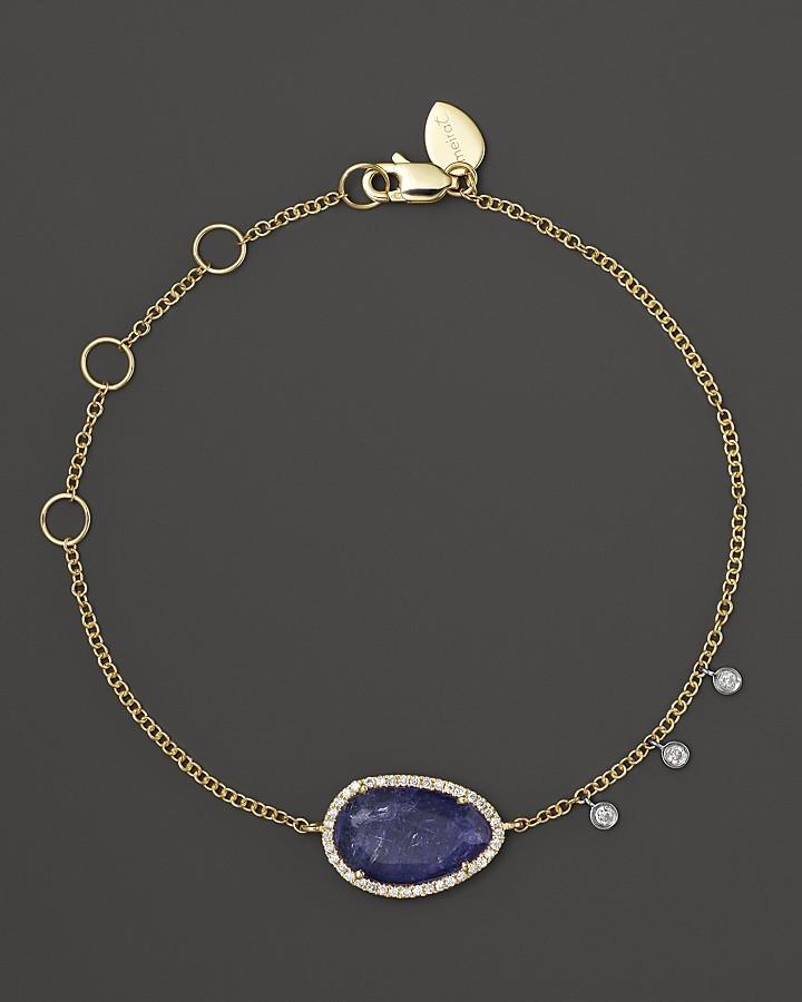 Meira T Diamond and Tanzanite Bracelet in 14K Yellow Gold