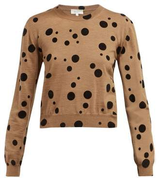 Isa Arfen Flocked Polka Dot Wool Sweater - Womens - Camel