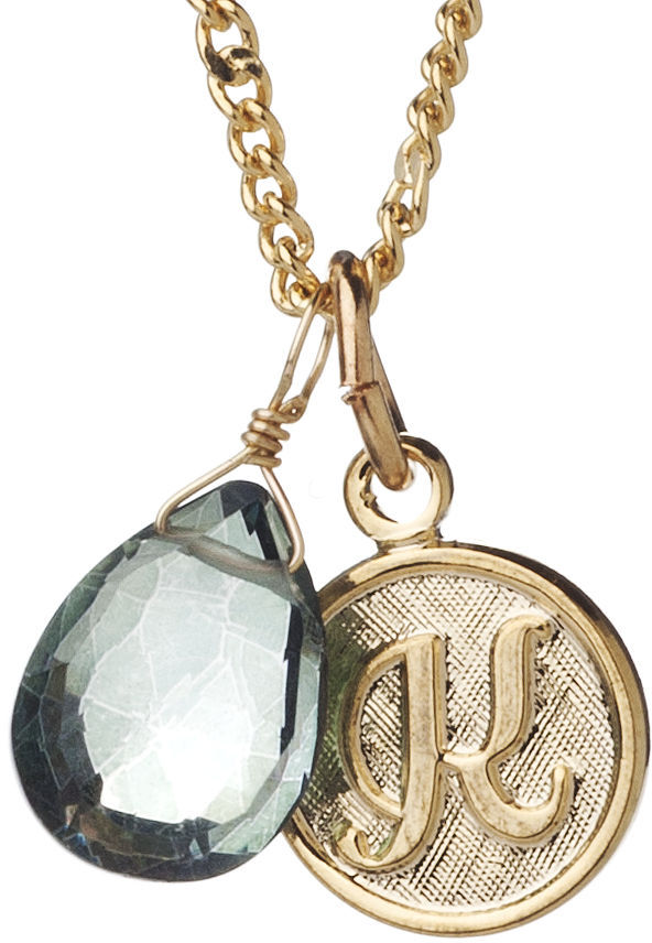 A.V. Max K Monogram Charm Necklace, Green 1 Necklace