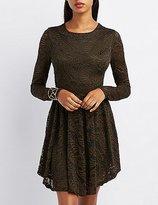 Charlotte Russe Floral Lace Skater Dress