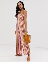Lost Ink bardot jumpsuit in linen stripe