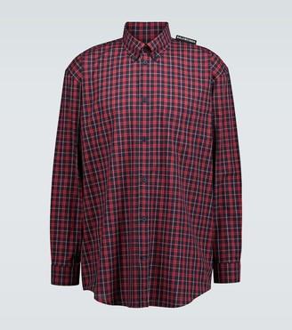 Balenciaga Tab checked long-sleeved shirt