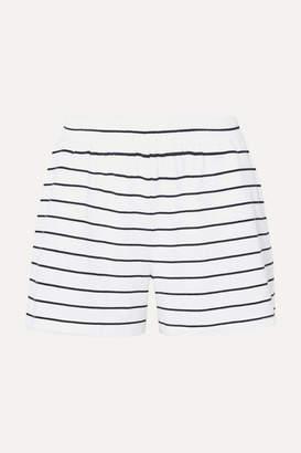 Skin - Ashlyn Striped Pima Cotton And Modal-blend Jersey Pajama Shorts - White