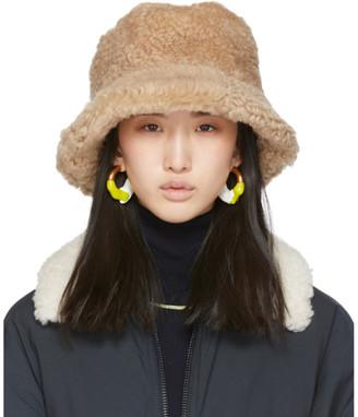 Sunnei Beige Wool Faux-Fur Bucket Hat