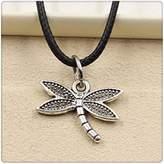 Nobrand No brand Fashion Tibetan Silver Pendant dragonfly Necklace Choker Charm Black Leather Cord Handmade Jewlery