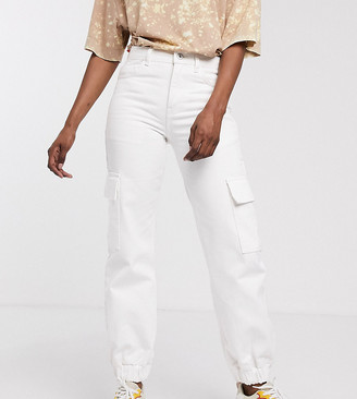 Collusion cuffed cargo jeans with pocket detail in white