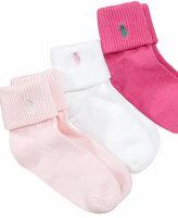 Ralph Lauren Little Girls' Triple Roll Low-Cut Socks 3 Pack