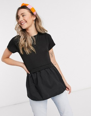 New Look knitted tiered tee in black