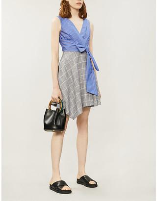 Claudie Pierlot Contrast-panel cotton and linen-blend dress