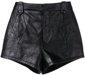 Saint Laurent High-Waisted Leather Shorts