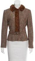 Alberta Ferretti Tweed Shearling-Trimmed Jacket