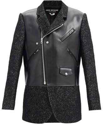 Junya Watanabe Faux-leather And Tweed Jacket - Black