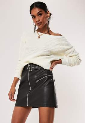 Missguided Petite Ivory Off Shoulder Knitted Sweater