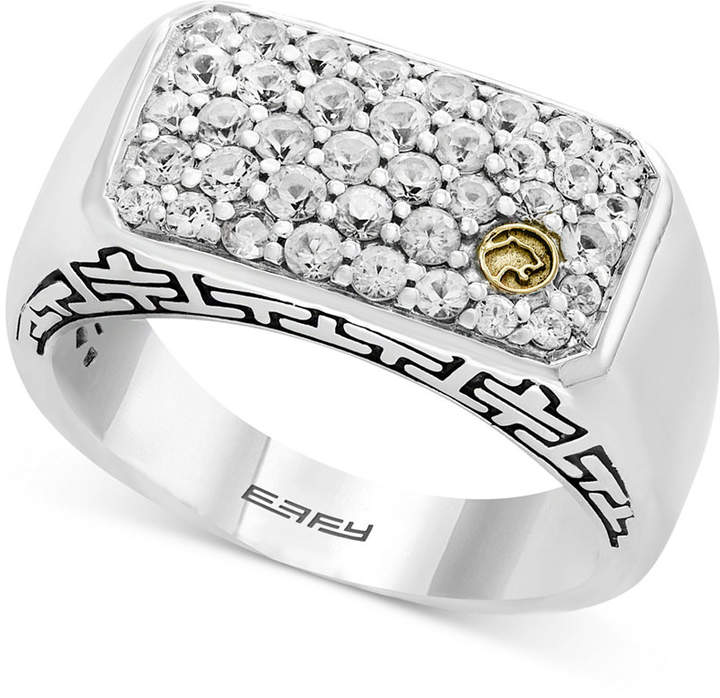 Effy Men's White Sapphire Cluster Ring (1-3/8 ct. t.w.) in Sterling Silver & 18k Gold