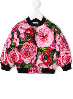 Dolce & Gabbana rose print bomber jacket - kids - Feather Down/Polyester/Viscose - 9-12 mth