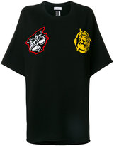 Facetasm college patch oversized T-shirt - women - Cotton - One Size