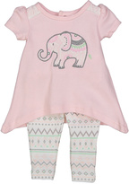 Baby Essentials Pink Elephant Sidetail Tunic & Fair Isle Leggings - Infant