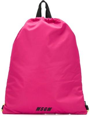 MSGM Logo-Print Drawstring Backpack