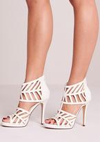 Missy Empire Destiny White Leather Laser Cut Open Toe Heels