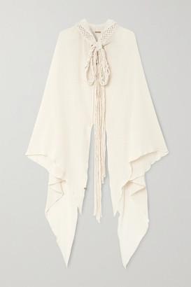 CARAVANA Net Sustain Kaanche Tasseled Cotton-gauze Hooded Cape - Neutral
