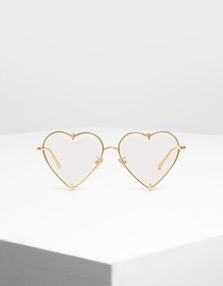 Charles & Keith Thin Metal Frame Heart-Shaped Sunglasses