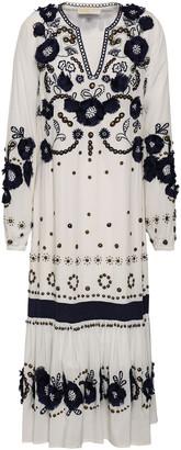 MICHAEL Michael Kors Floral-appliqued Embellished Silk Crepe De Chine Midi Dress