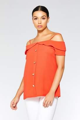 Quiz Orange Button Strap Cold Shoulder Top