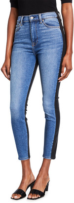 7 For All Mankind High-Waist Ankle Skinny Jeans with Coated Back