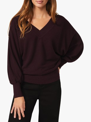 Phase Eight Aria V-Neck Jumper, Wine