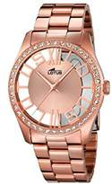 Lotus Women's Quartz Watch with Rose Gold Dial Analogue Display and Stainless Steel Rose Gold Plated Bracelet 18128/1