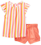 Isaac Mizrahi Striped Ruffle Sleeve Tee & Short Set (Baby Girls 12-24M)